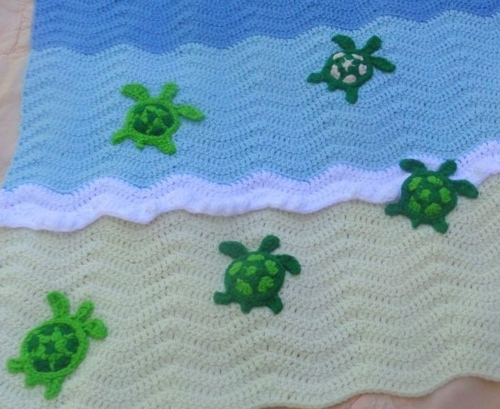 Awesome Turtle Applique Pattern by Patricia Eggen Sea Turtle Crochet Blanket Pattern Of Beautiful Premier Sea Turtle Blanket Free Download – Premier Yarns Sea Turtle Crochet Blanket Pattern