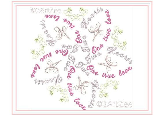 Two Hearts e True Love Word Flower Machine Embroidery