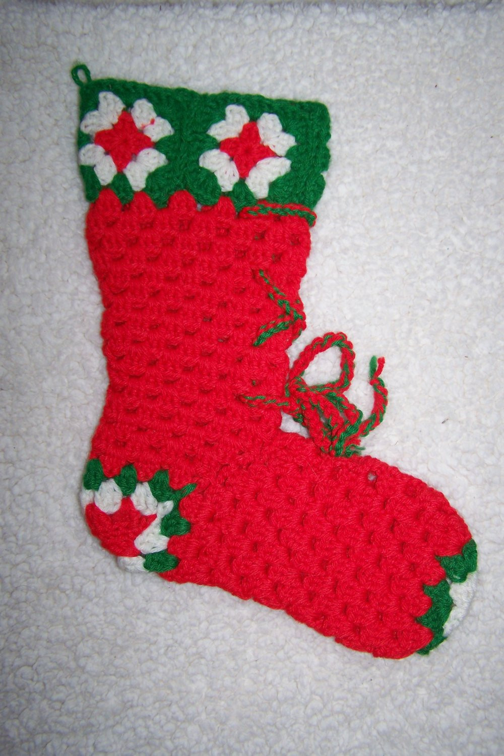 Vintage Crochet Christmas Stocking Sock Lace Up Boot