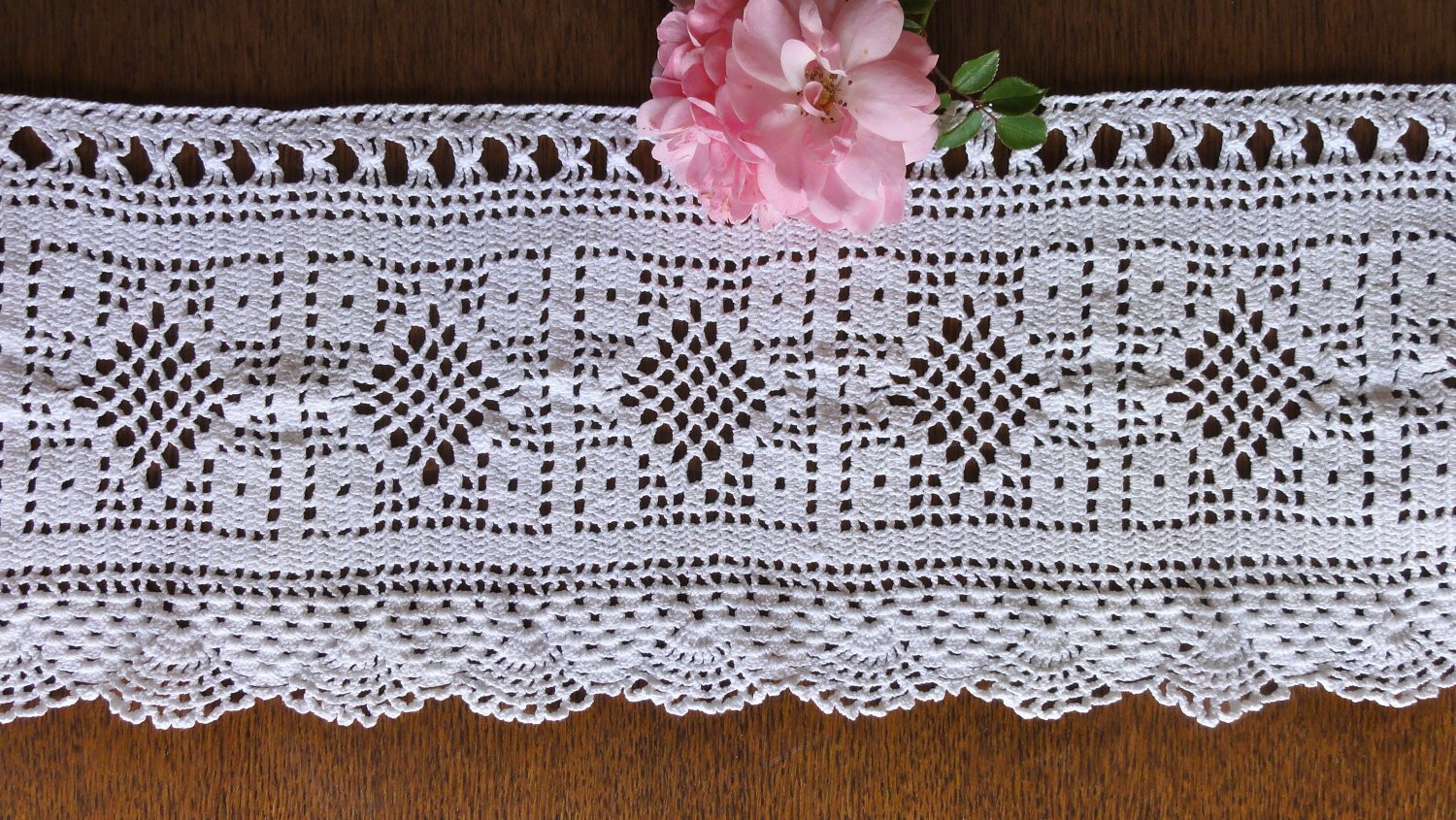 Awesome Vintage Crochet Curtain White Filet Valance by Oldamsterdam Crochet Curtain Patterns Of Contemporary 49 Ideas Crochet Curtain Patterns