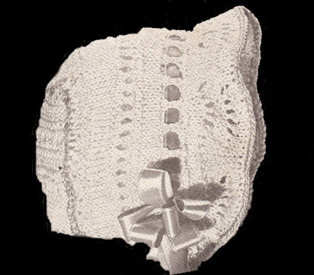 Vintage Knitted Baby Bonnet Cap Hat Pattern Knit Mitts