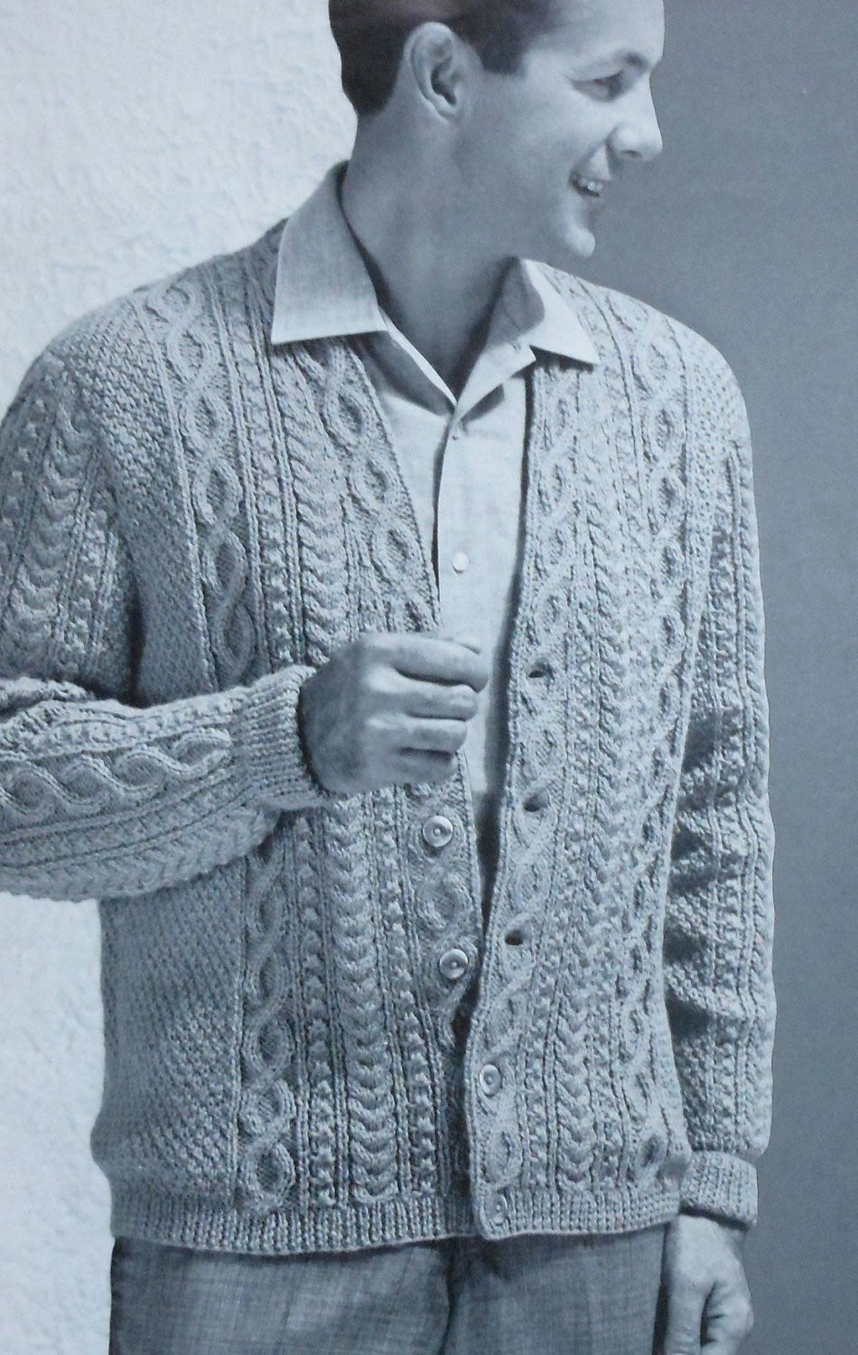 Awesome Vintage Men S Aran Style Cardigan Sweater Knitting Pattern Mens Patterned Cardigan Of Charming 50 Models Mens Patterned Cardigan