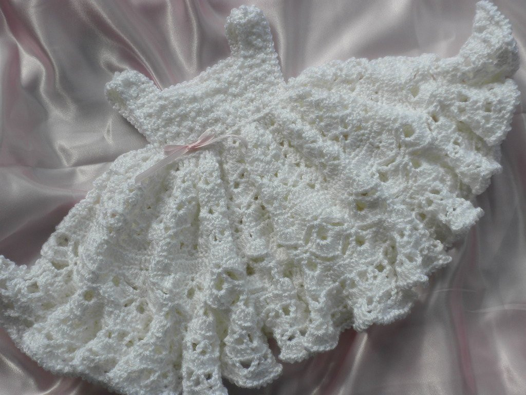 Awesome White Crocheted Baby Girl Dress with Full Ruffled Skirt Crochet Dress for Baby Of Amazing 42 Photos Crochet Dress for Baby