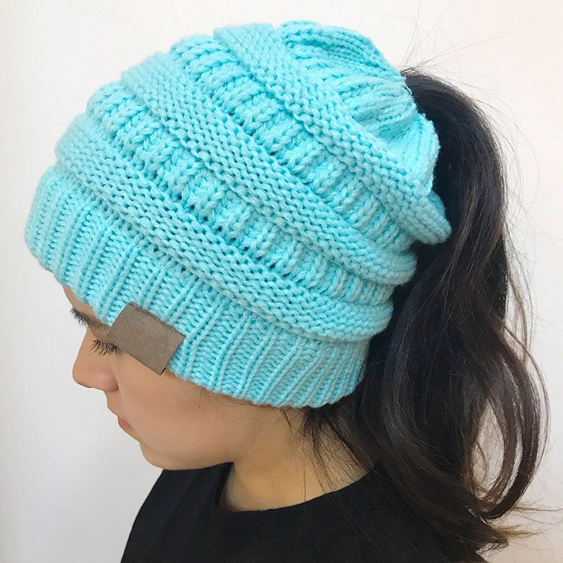 Awesome Women Stretch Knitted Beanie Hat Messy High Bun Ponytail Ponytail Winter Hat Of Incredible 45 Pictures Ponytail Winter Hat