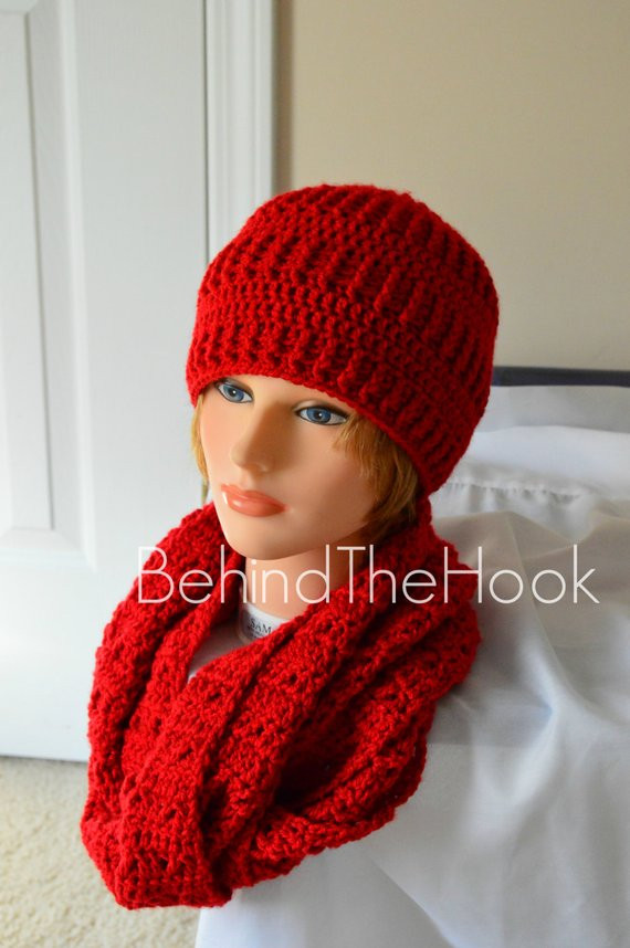 Awesome Womens Crochet Red Hat and Scarf Set Womens by Behindthehook Crochet Hat and Scarf Set Of Amazing 44 Models Crochet Hat and Scarf Set