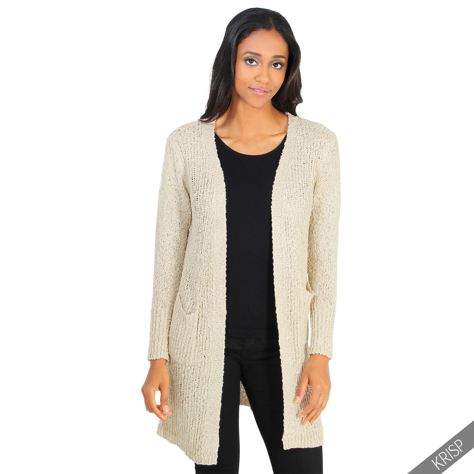 Womens La s Cable Knitted Long Boyfriend Cardigan Open