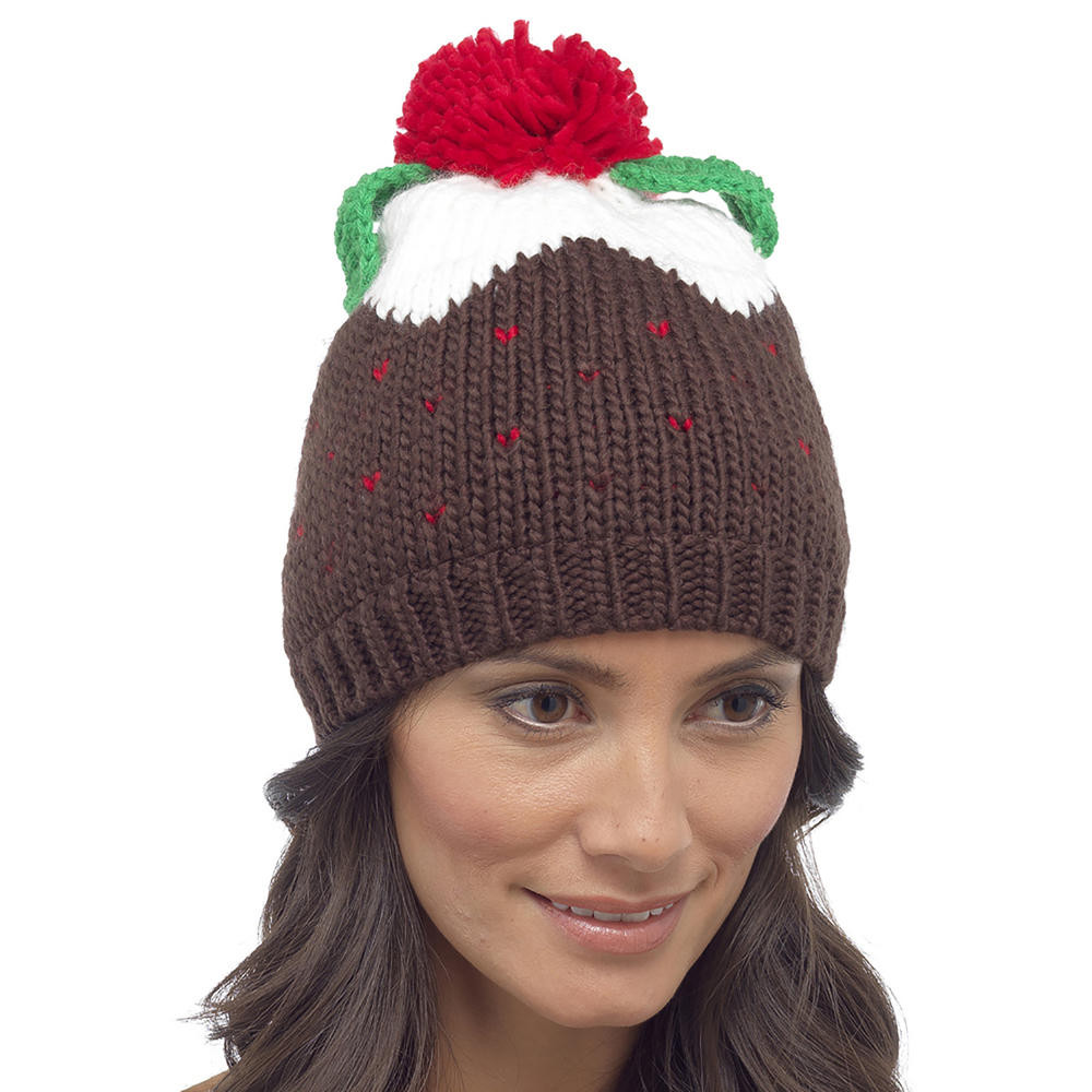 Awesome Womens Novelty Knitted Christmas Pudding Hat Pom Pom Beanie Knitted Christmas Hats Of Adorable 50 Models Knitted Christmas Hats