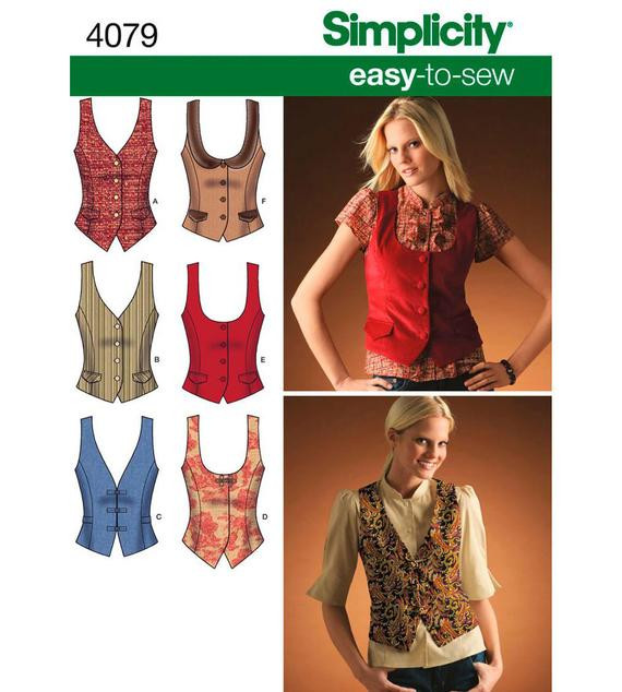 Awesome Womens Vest Sewing Pattern Simplicity 4079 Lined Vest by Womens Vest Pattern Of Amazing 46 Ideas Womens Vest Pattern
