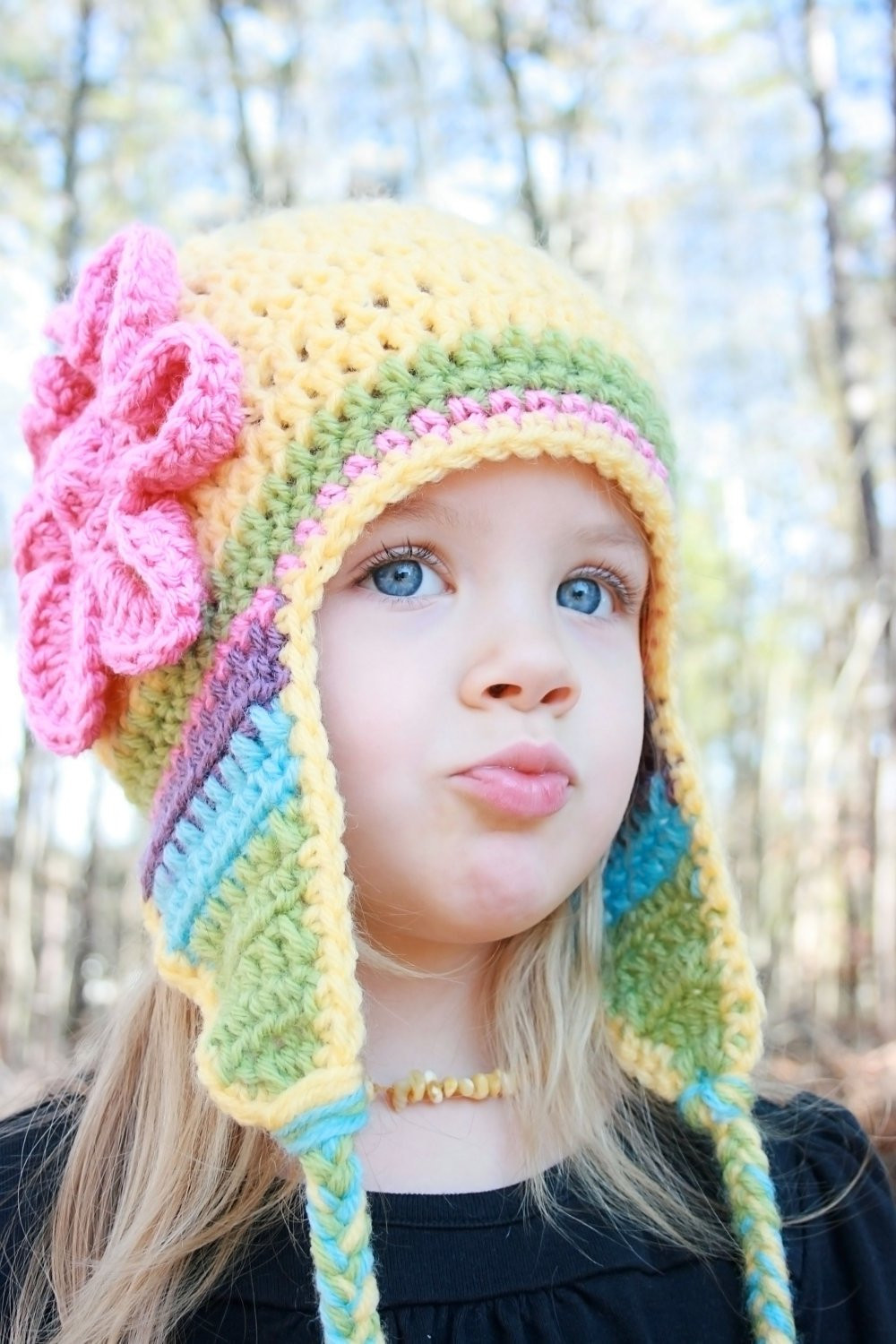 Yellow Crochet Hat with Flower and Earflaps Crochet Baby Hat