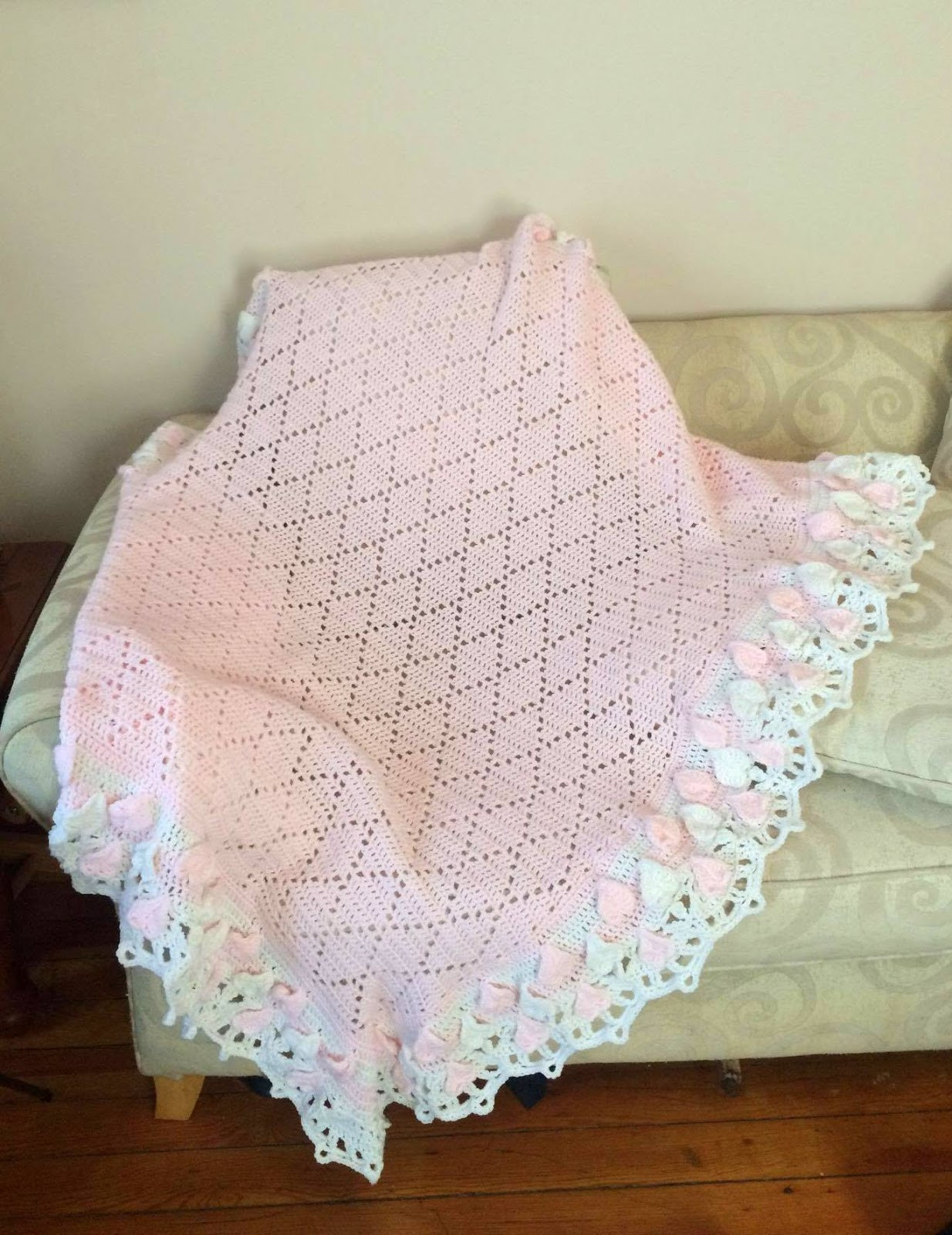 Lacy Crochet Diamond Baby Blanket with Hearts and Shells