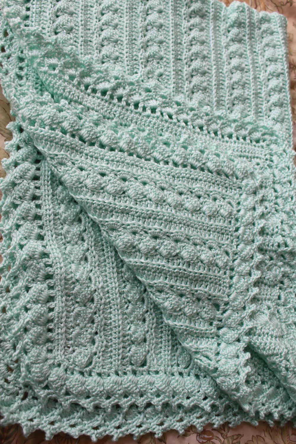 Baby blanket crochet 3 sizes cable design super soft