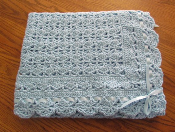 Baby Afghan Size Unique Blue Baby Afghan Christening Crochet Crib Size Heirloom Lace Of Beautiful 44 Models Baby Afghan Size