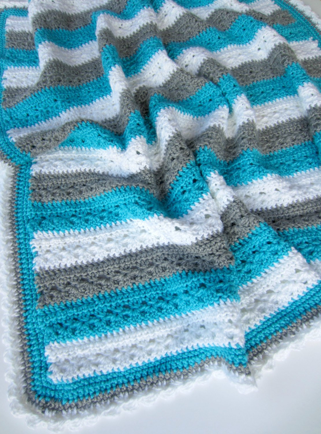 Crochet PATTERN Baby Afghan Blanket Lakeside Blanket Pattern