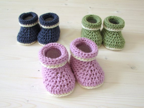 Beginners Crochet Cuffed Baby Booties Shoes Written Pattern