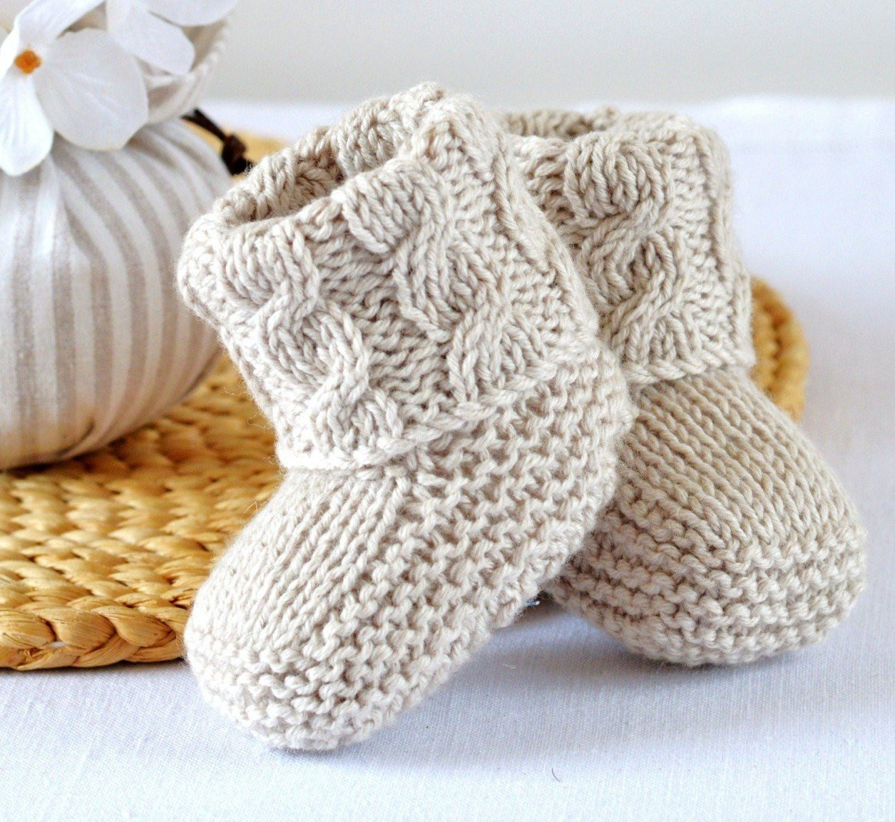 KNITTING PATTERN Baby Booties Cable Aran Baby Shoes Quick