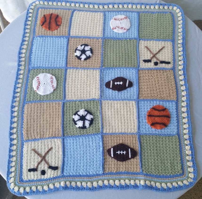 Baby Boy Crochet Blanket Patterns Elegant Sports Lapghan Crochet Baby Blanket Baseball Applique Of Baby Boy Crochet Blanket Patterns Lovely Navy and Teal for A Baby Boy