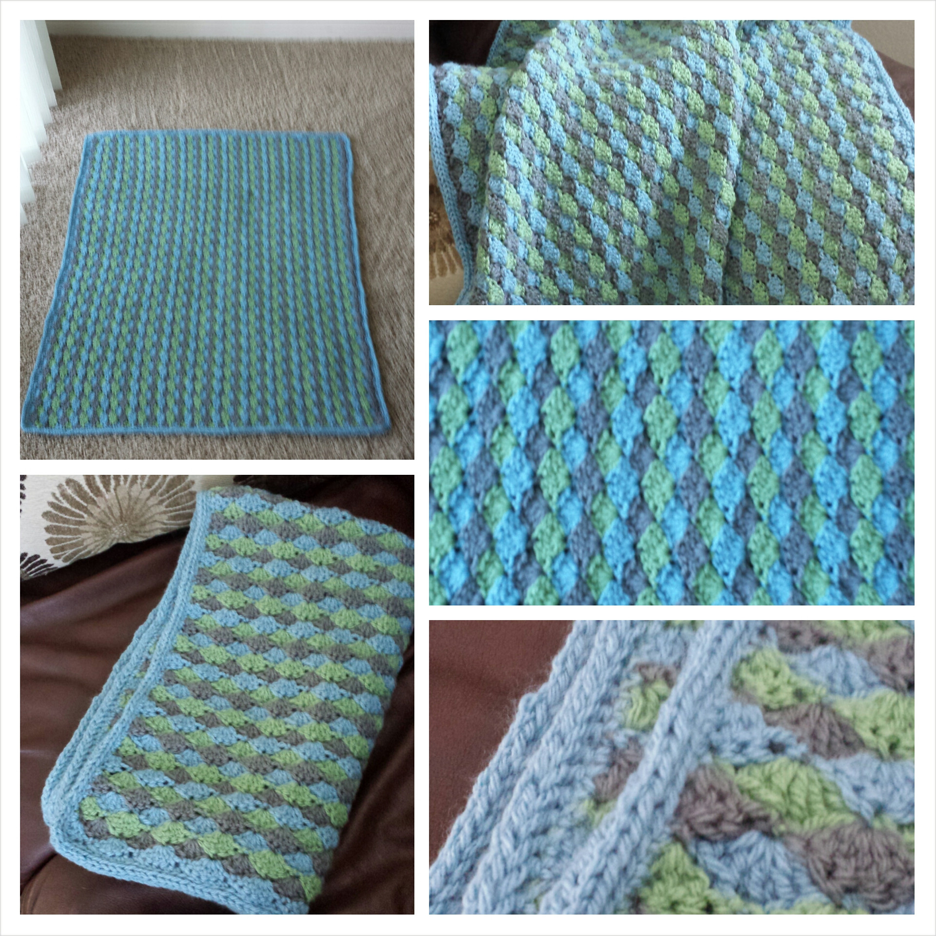Baby boy blue and green and gray crochet and knit
