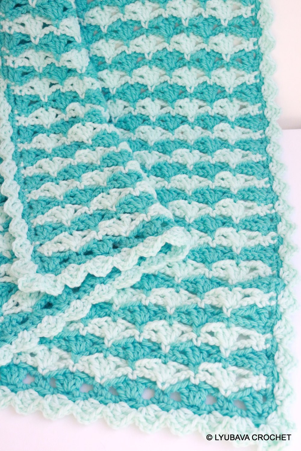 Turquoise BABY BLANKET Chunky Crochet Blanket For Baby Boy
