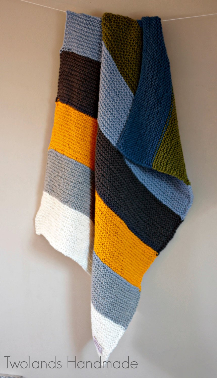 Knitted baby boy girl blanket by TwoLands on Etsy