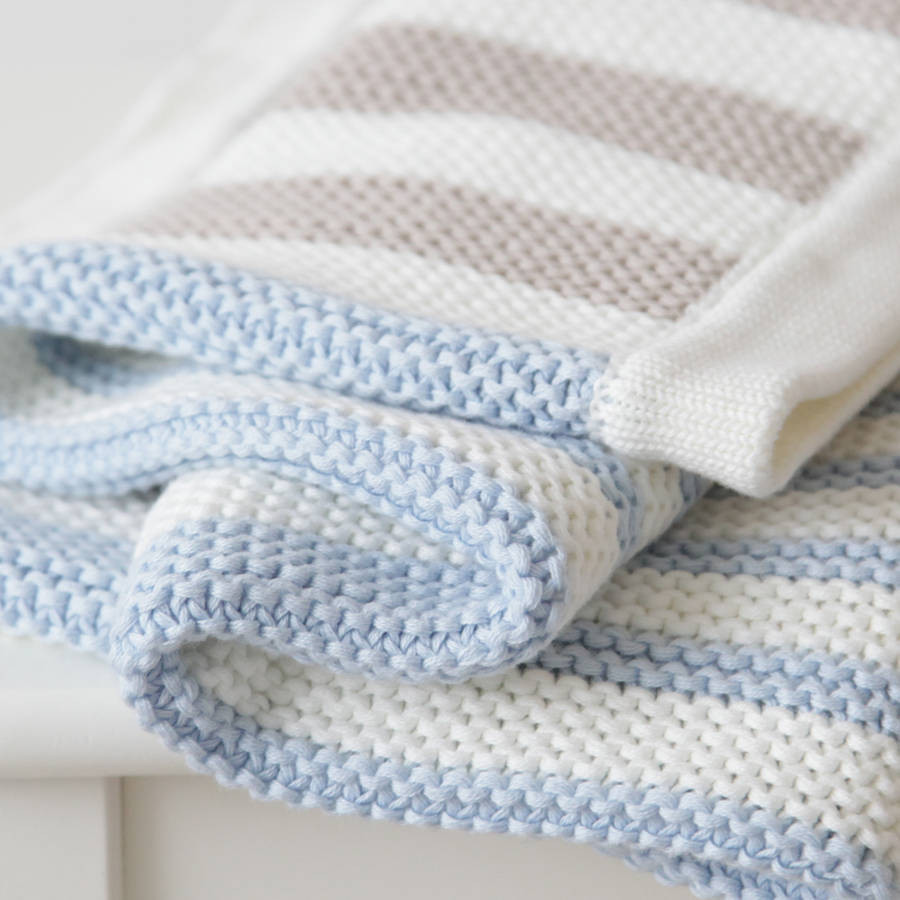 Baby Boy Knitted Blanket Elegant Personalised Boys Stripe Knitted Blanket by My 1st Years Of Incredible 43 Photos Baby Boy Knitted Blanket