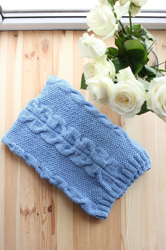 Baby boy blanket Knit baby blanket Cable Knit Blanket by