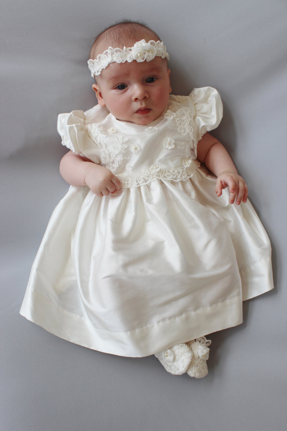 SALE Amelia Christening Dress Silk and Lace Baby Girl