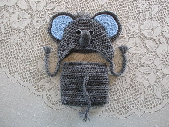 Crochet Baby Elephant Hat and Diaper Cover With or Without