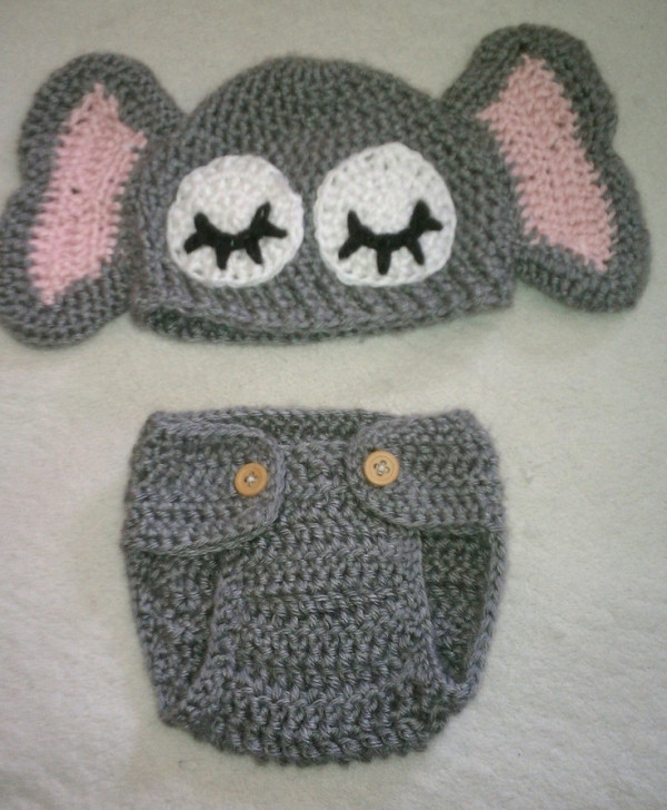 Crochet Baby Elephant Hat with Matching Diaper Cover