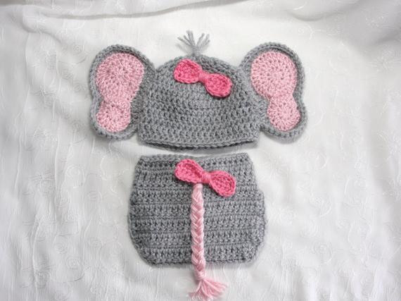 Newborn Baby Girl Elephant Hat with Matching Diaper Cover