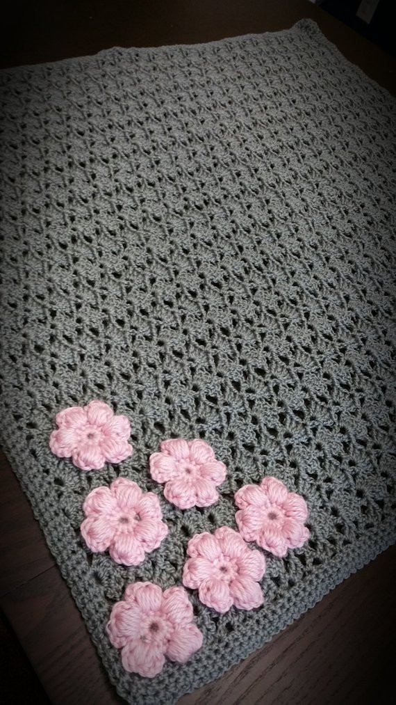 Beautiful Handmade Crochet Baby Girl Gray Blanket with Pink