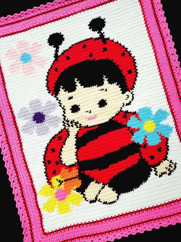 Crochet Patterns BABY GIRL LADYBUG Afghan Pattern