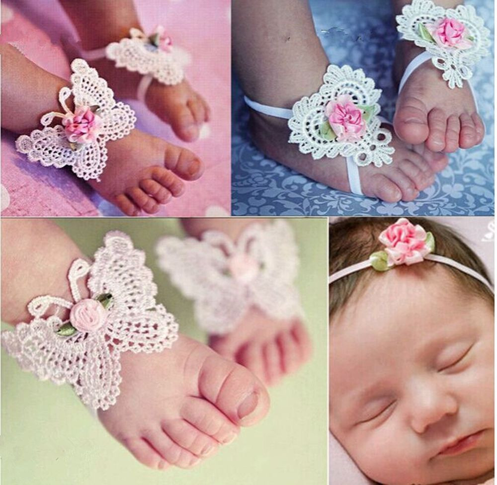 Baby Girl Sandals Awesome Cute Foot Flower Barefoot Sandals and butterfly Headband Of Lovely 44 Pictures Baby Girl Sandals