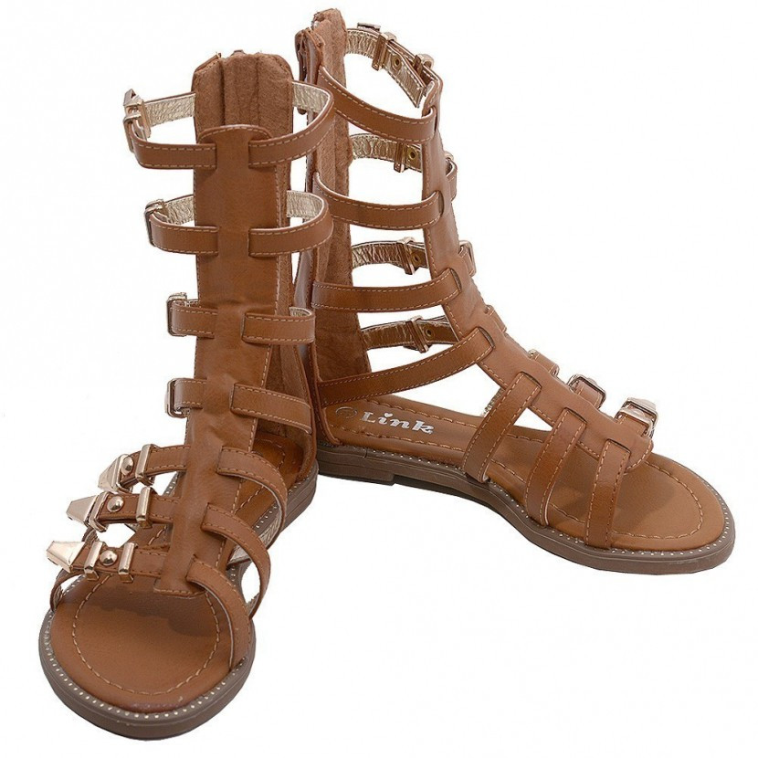 Little Girls Tan Mid Calf Caged Gladiator Strappy Sandals