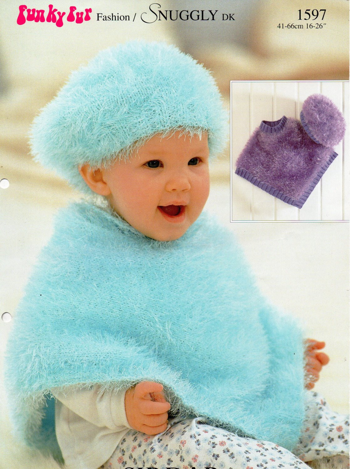 Baby Knitting Pattern Baby Furry Poncho Beret Baby Poncho