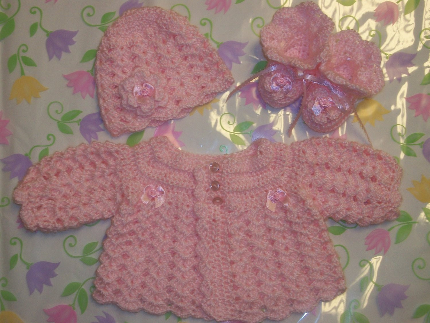 Baby Layette Crochet Patterns Awesome Crochet Baby Girl Sweater Set Layette Perfect for Take Me Of Wonderful 45 Pictures Baby Layette Crochet Patterns