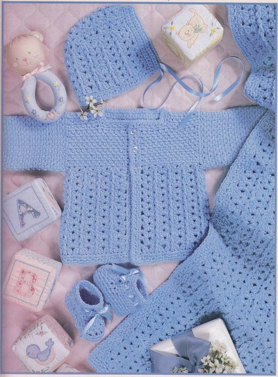 133 best images about Crochet Baby Layettes Sweater Sets