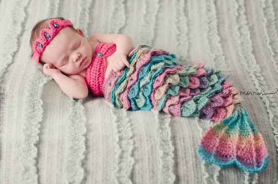 Baby Mermaid Tail Crochet Pattern Lovely Baby Girl Outfit Mermaid Costume Crocodile Stitch Newborn Of New 45 Photos Baby Mermaid Tail Crochet Pattern