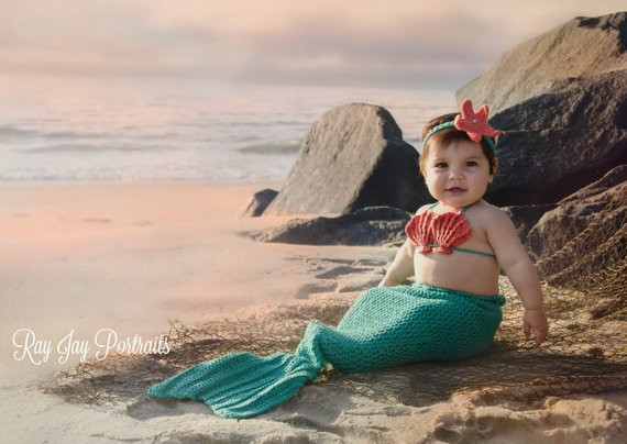 Crochet Baby Mermaid Outfit Mermaid Tail Baby Mermaid