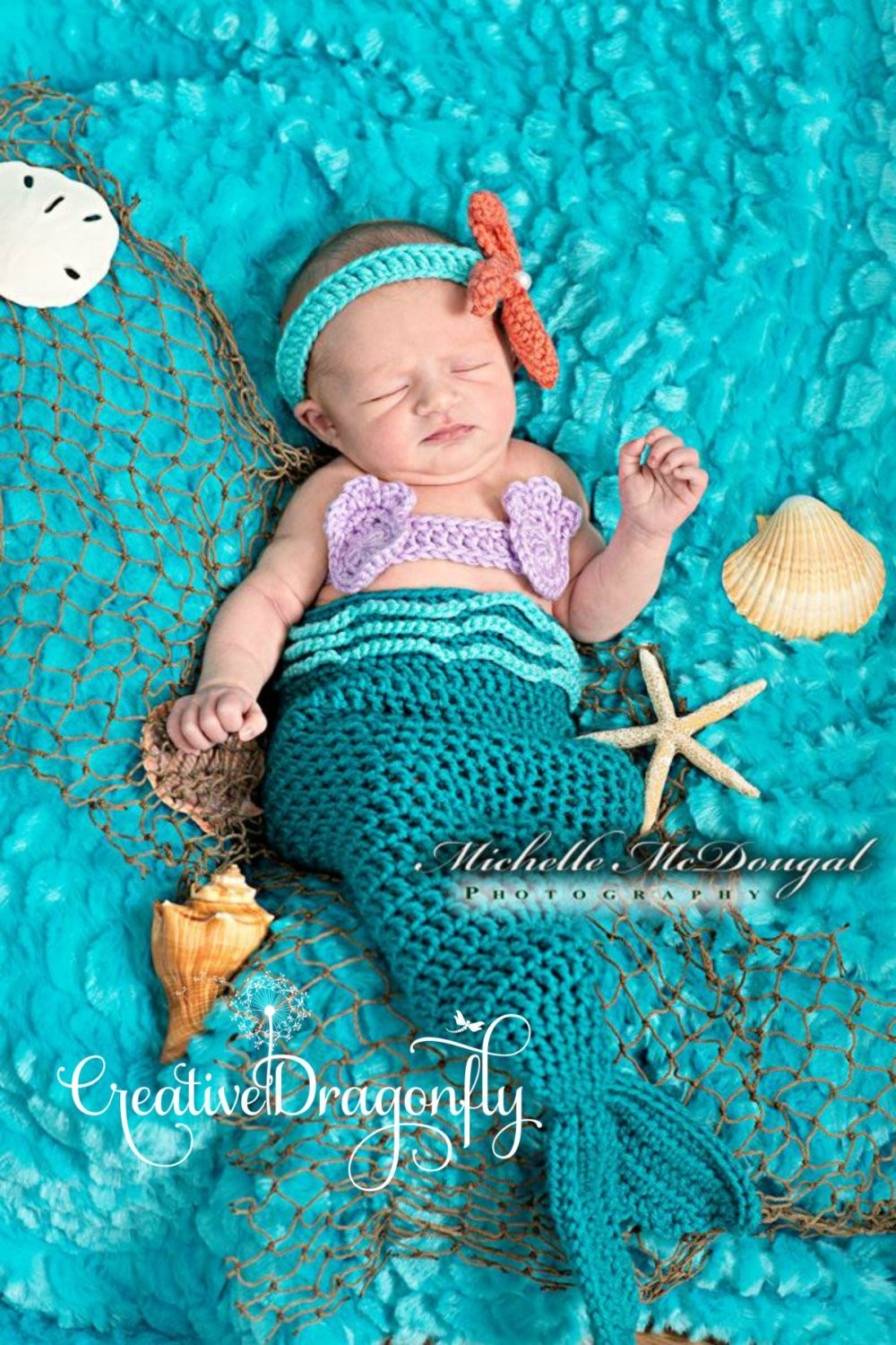 Newborn Baby Mermaid Tail Costume 0 to 3 month Turquoise