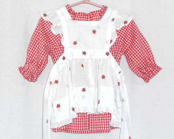 Vintage Baby Clothes Baby Girl Pinafore Dress Strawberry Dress