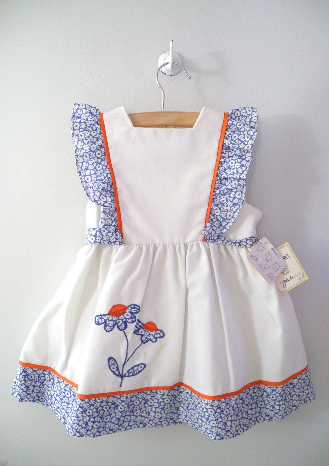 Baby Pinafore Dress Inspirational 1960 S White Blue and Red Daisy Pinafore Of Gorgeous 48 Models Baby Pinafore Dress