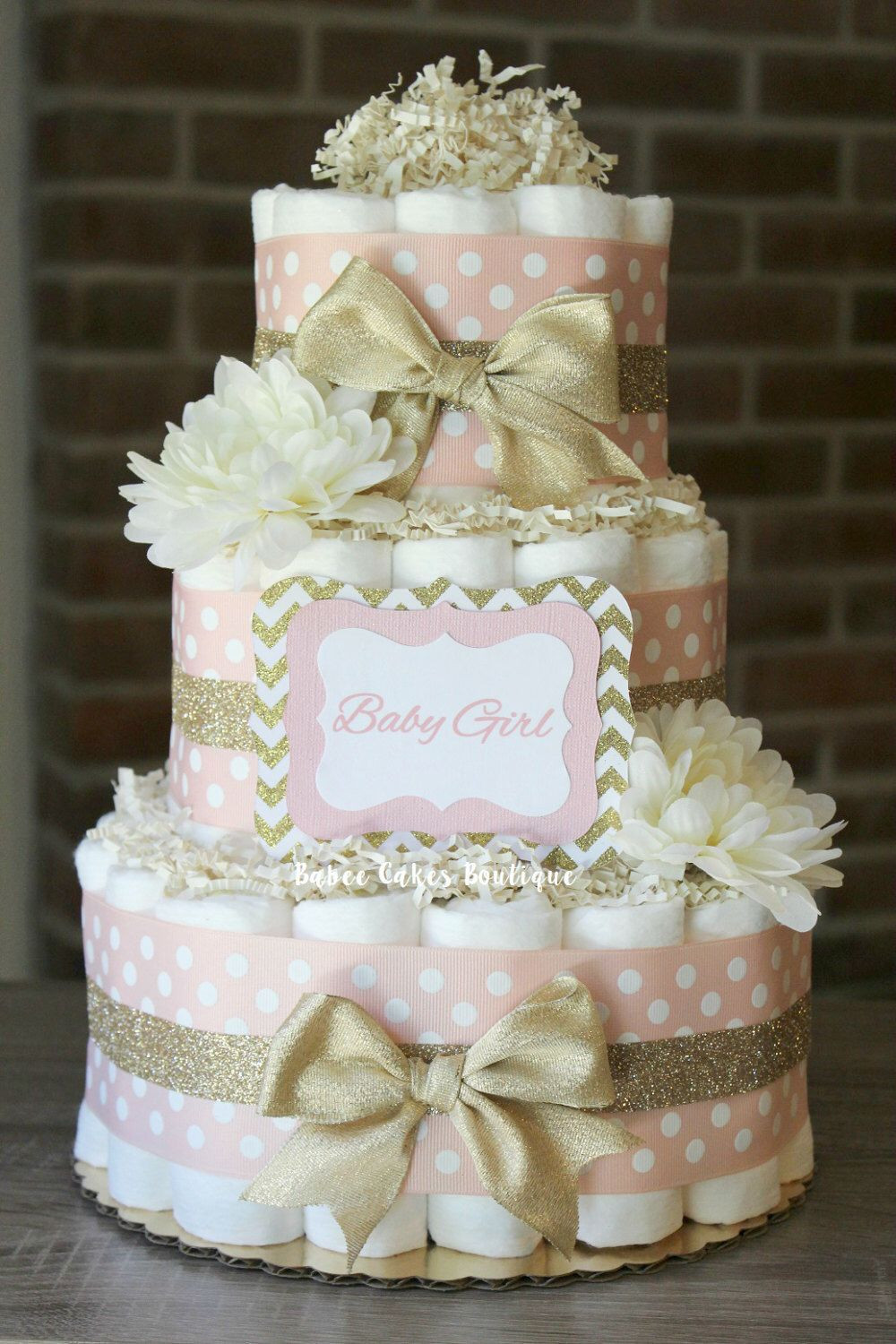 Baby Shower Diaper Cakes Fresh 3 Tier Blush Pink and Champagne Gold Diaper Cake Baby Of Gorgeous 41 Ideas Baby Shower Diaper Cakes