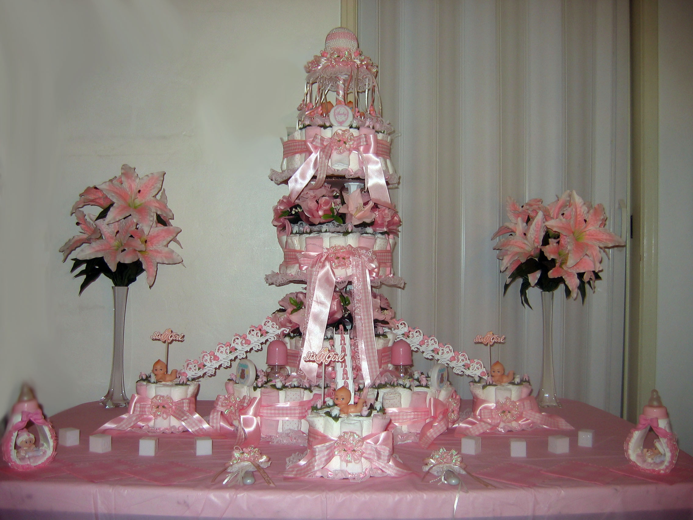 Baby Shower Diaper Cakes Inspirational Pink and White Diaper Cake Front View Of Gorgeous 41 Ideas Baby Shower Diaper Cakes