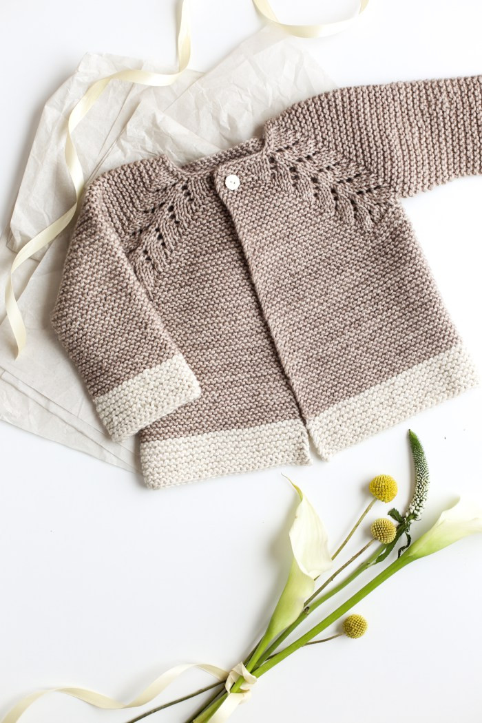 Lovely Knit Top Down Cardigan Baby Sweater Flax & Twine