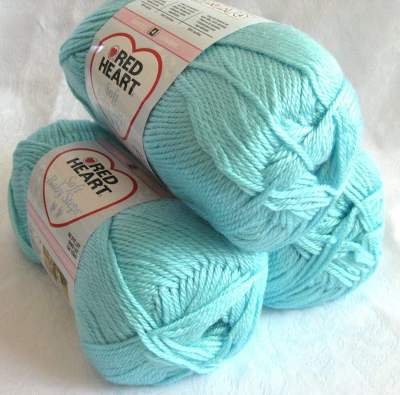 AQUA blue yarn worsted weight Red Heart Soft Baby by
