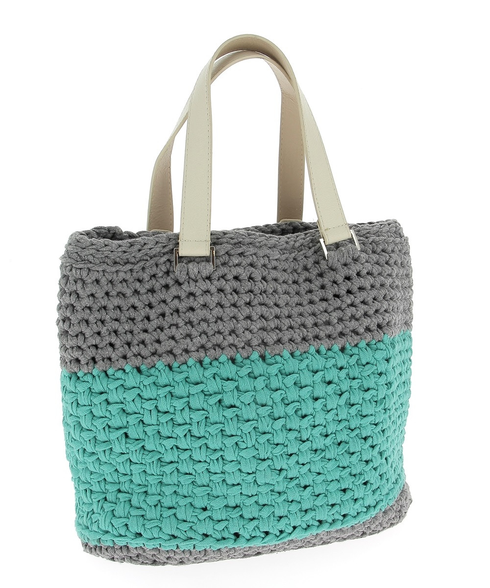 diy crochet kit valencia bag ribbonxl stone grey
