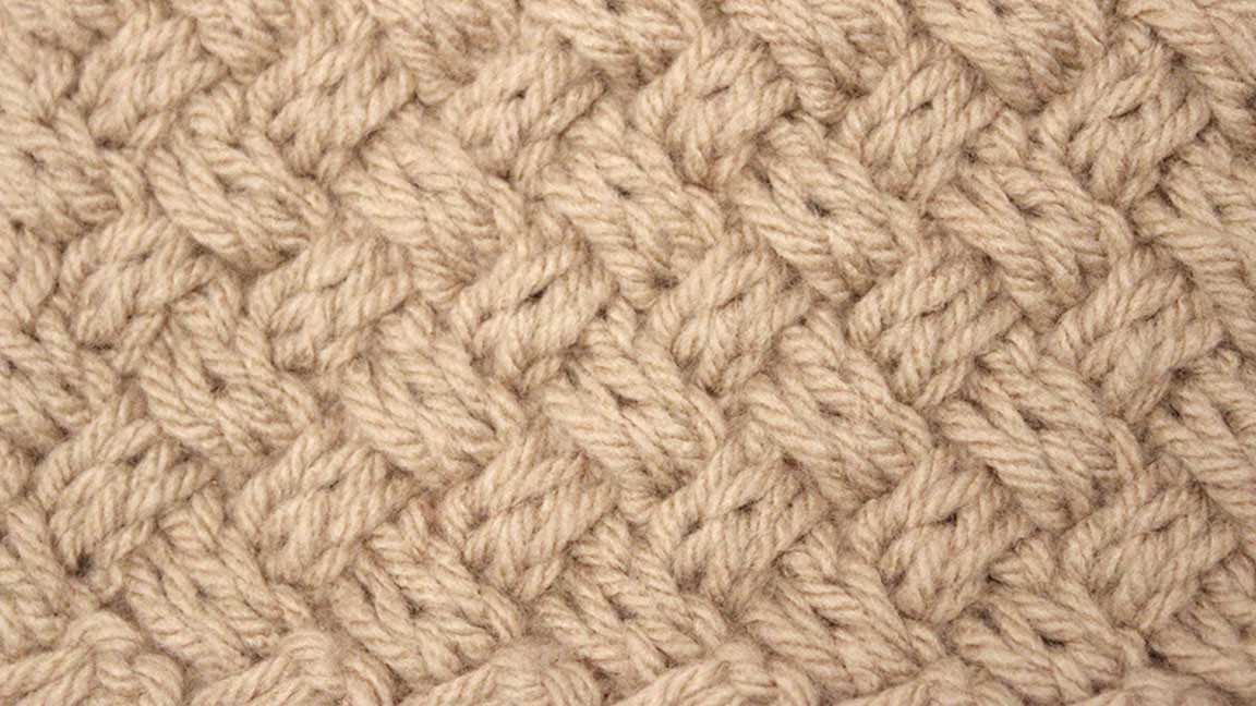 Knitted Diagonal Basket Weave Stitch Pattern [A How To