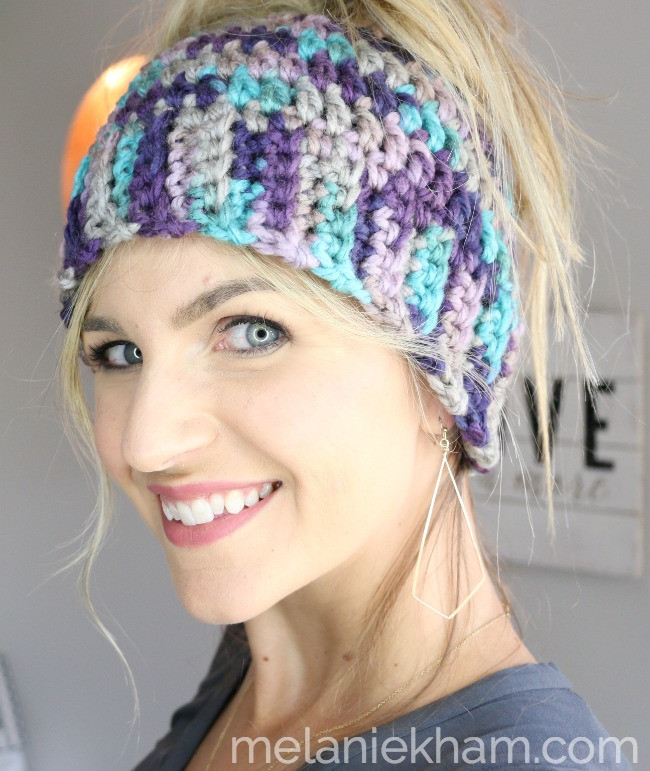 Crochet Messy Bun Hat Tutorial for Beginners with Video