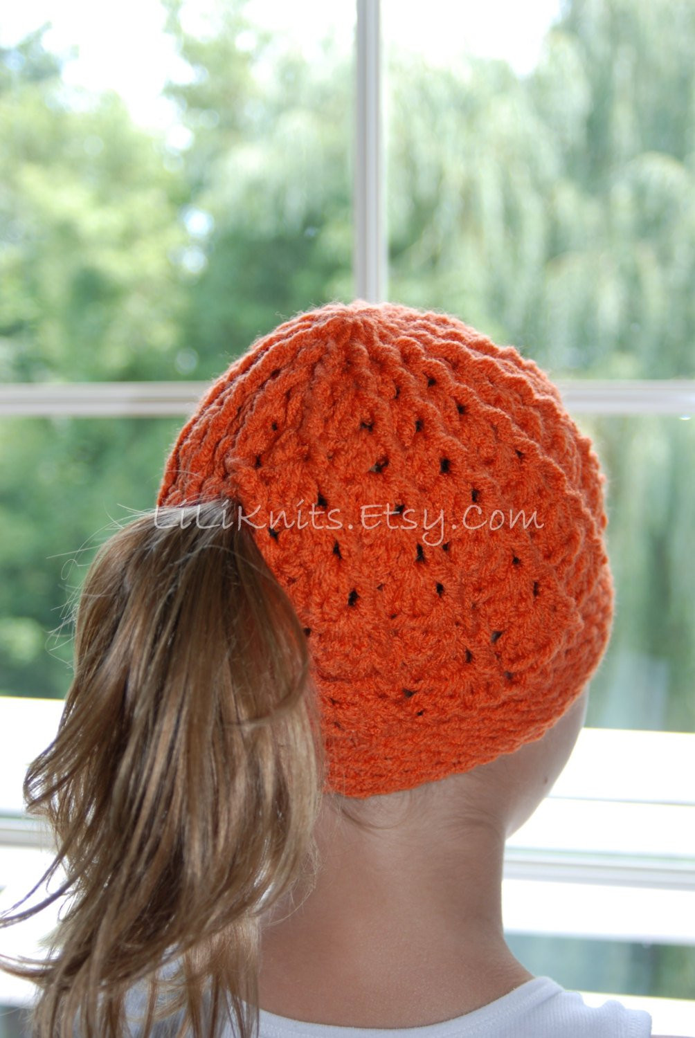 Crocheted Ponytail Hat Beanie Cap Child Girl Baby by LiLiKnits