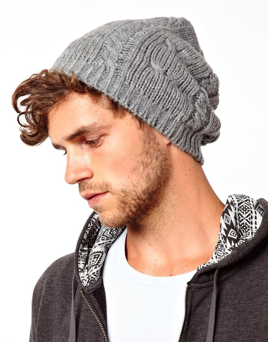 Beanies for Men Lovely Lyst Fred Perry asos Cable Slouchy Beanie Hat In Gray Of Amazing 47 Images Beanies for Men